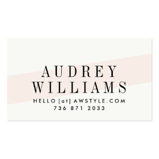 Elegant pastel brown floral pattern coral striped business card