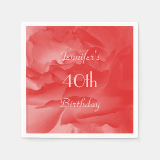 Elegant Pastel Coral Pink Rose, 40th Birthday Napkin