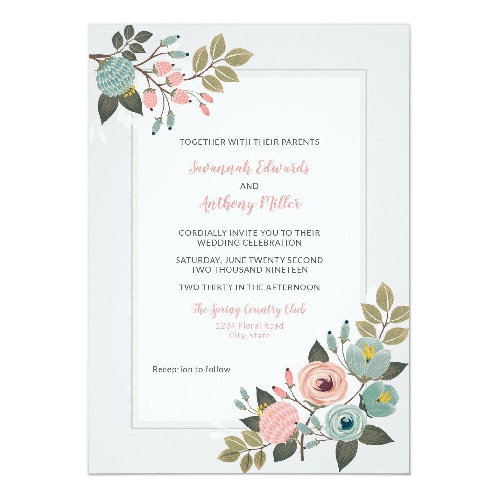 Elegant Pastel Floral Wedding Invitation
