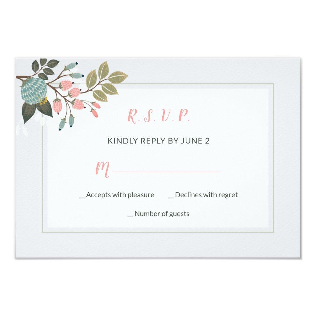 Elegant Pastel Floral Wedding RSVP Card