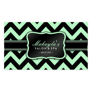 Elegant Pastel Green and Black Chevron Pattern Double-Sided Standard Business Cards (Pack Of 100)