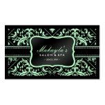 Elegant Pastel Green and Black Damask Pattern Business Card Templates
