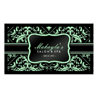 Elegant Pastel Green and Black Damask Pattern Double-Sided Standard Business Cards (Pack Of 100)