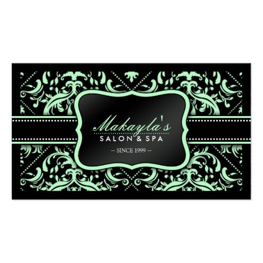 Elegant Pastel Green and Black Damask Pattern Business Card Templates