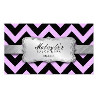 Elegant Pastel Lavender and Black Chevron Pattern Business Card