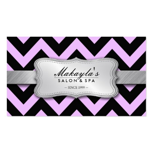 Elegant Pastel Lavender and Black Chevron Pattern Business Card Templates