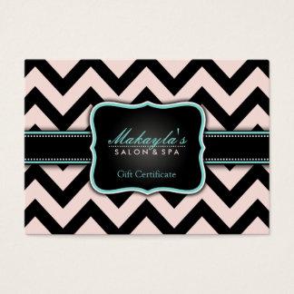 Elegant Pastel Pink and Black Chevron Gift Business Card