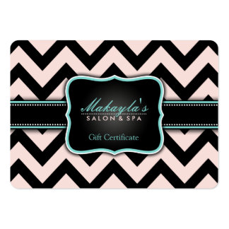 Elegant Pastel Pink and Black Chevron Gift Business Card Templates
