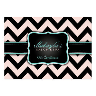 Elegant Pastel Pink and Black Chevron Gift Large Business Cards (Pack Of 100)