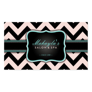 Elegant Pastel Pink and Black Chevron Pattern Business Card Template