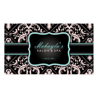 Elegant Pastel Pink and Black Vintage Damask Business Card