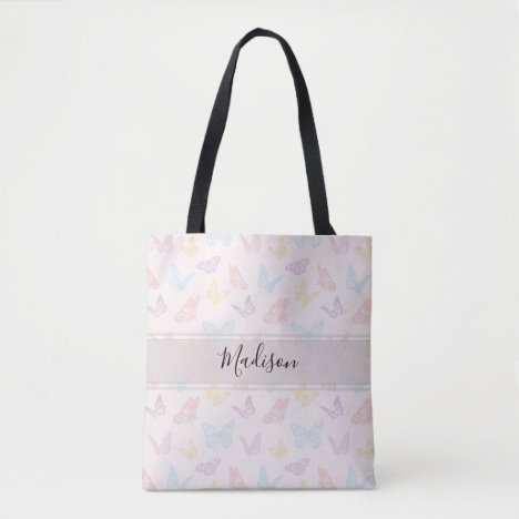 Elegant Pastel Pink Butterfly Pattern with Name Tote Bag