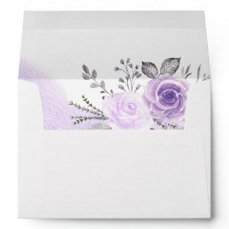 Elegant Pastel Purple Flowers for 5x7 Invitation Envelope