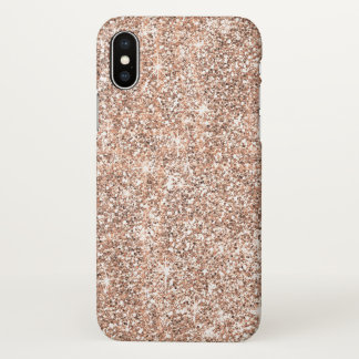 Elegant Pastel Rose Gold Glitter Chic Zazzle iPhone X Case