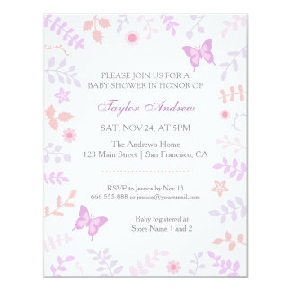 Elegant Pastel Spring Floral Butterfly Baby Shower 4.25x5.5 Paper Invitation Card