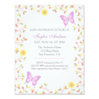 Elegant Pastel Spring Leaves Butterfly Baby Shower 4.25x5.5 Paper Invitation Card