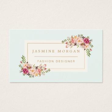 CardHunter Elegant Pastel Watercolor Floral Boutique Decor Business Card