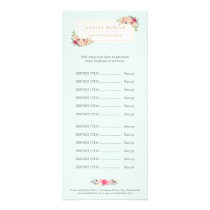 Elegant Pastel Watercolor Floral Menu Price List