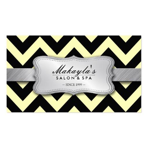 Elegant Pastel Yellow and Black Chevron Pattern Business Card Templates