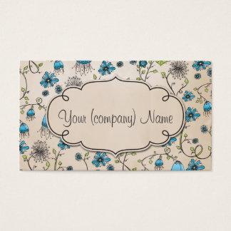 Elegant pattern flowers blue/beige business card
