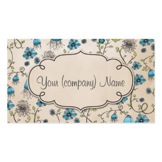 Elegant pattern flowers blue/beige business card templates