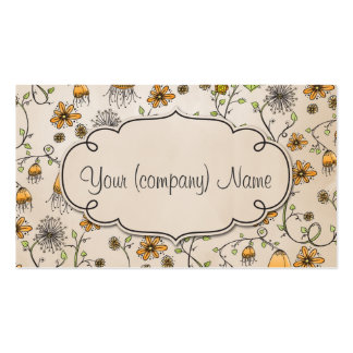Elegant pattern flowers yellow/beige Double-Sided standard business cards (Pack of 100)