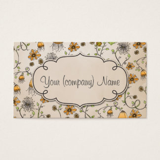 Elegant pattern flowers yellow/beige business card