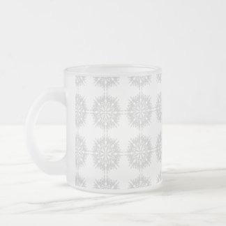 Elegant pattern, light gray and white. frosted glass coffee mug