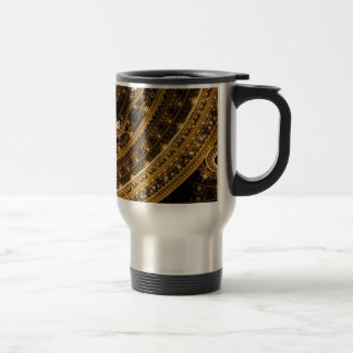 Elegant pattern of curves and beads travel mug