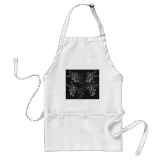 Elegant_patterns_black_flowers_swirls_designs Adult Apron