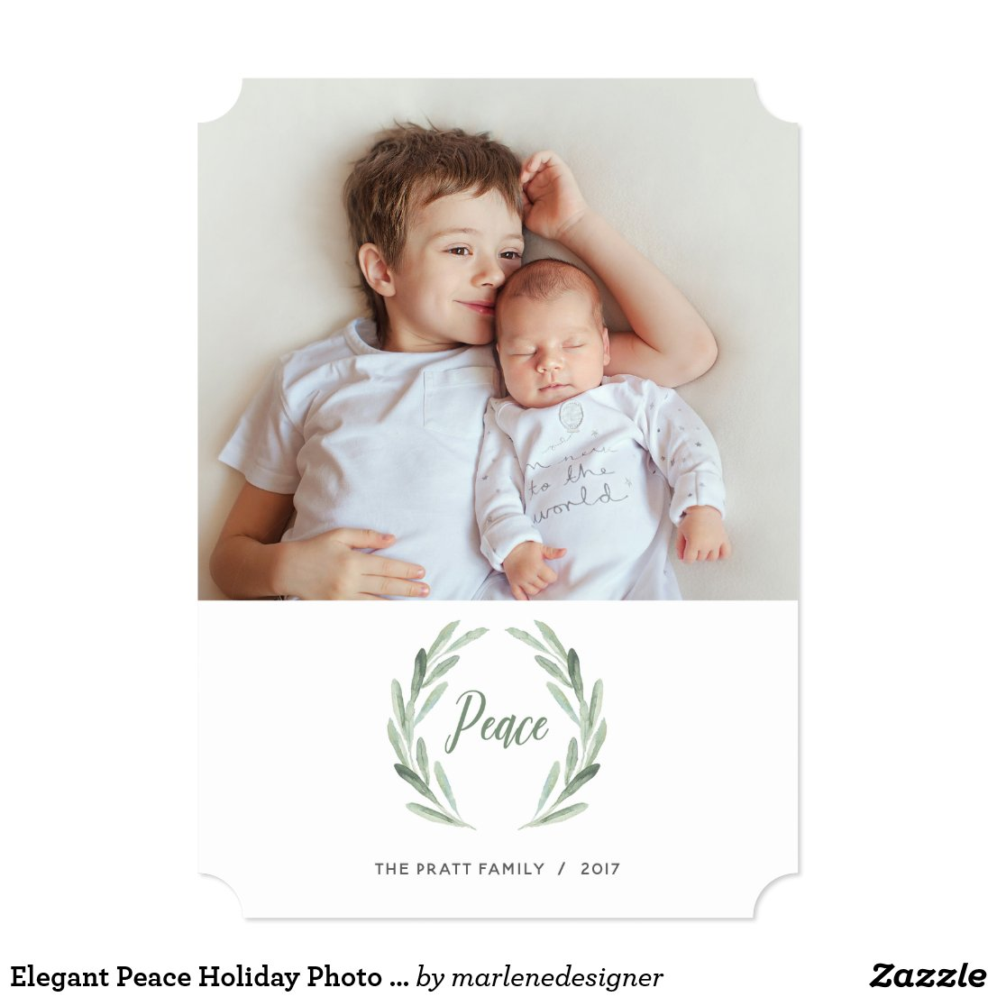 Elegant Peace Holiday Photo Card