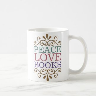 Elegant Peace, Love, Books Coffee Mug