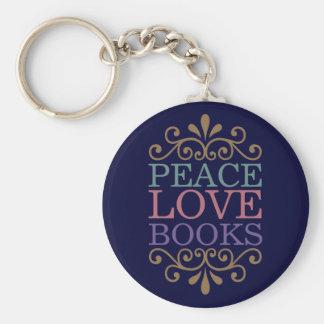 Elegant Peace, Love, Books Keychain (Dark)