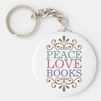 Elegant Peace, Love, Books Keychain (Light)