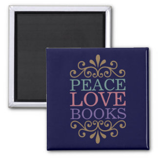 Elegant Peace, Love, Books Magnet (Dark)