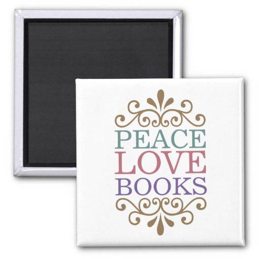 Elegant Peace, Love, Books Magnet (Light)