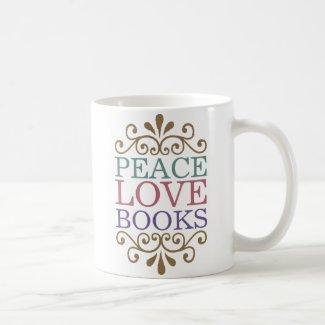 Elegant Peace, Love, Books Classic White Coffee Mug