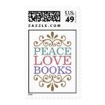 Elegant Peace, Love, Books Stamp