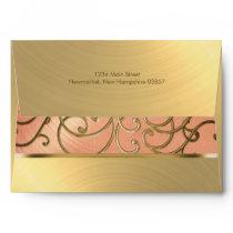 Elegant Peach and Gold Filigree Envelope