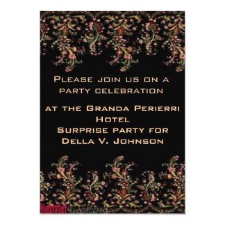 "Elegant Peach and Pink roses on Black Invite 5"" X 7"" Invitation Card"