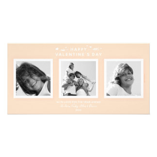 Elegant Peach/Apricot Valentine's Day Family Photo Card
