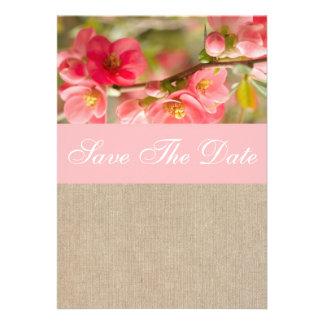 Elegant Peach Blossom Burlap Save The Date Personalized Invitation