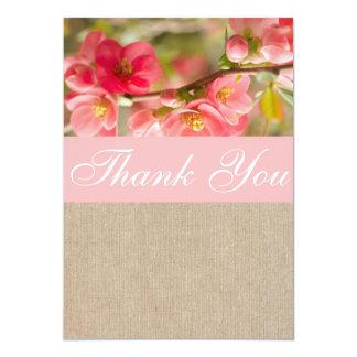 Elegant Peach Blossom Burlap Thank You Card / Note