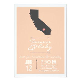 Elegant Peach California Wedding Invitation