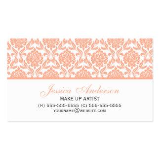 Elegant Peach Damask Pattern Business Card