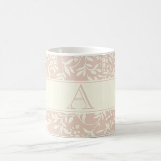 Elegant Peach Floral Pattern Custom Monogram Mug