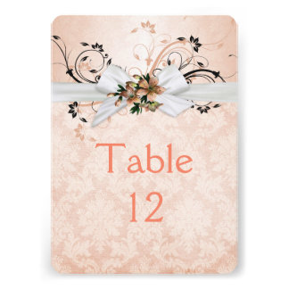 Elegant Peach Floral Ribbon Damask Table card