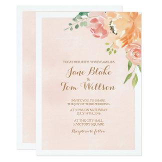 Elegant peach flower watercolor wedding invitation