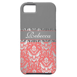 Elegant Peach Lipstick Shimmer Girly Damask Design iPhone SE/5/5s Case