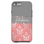 Elegant Peach Lipstick Shimmer Girly Damask Design iPhone 6 Case